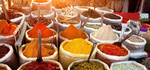 multi-coloured spices