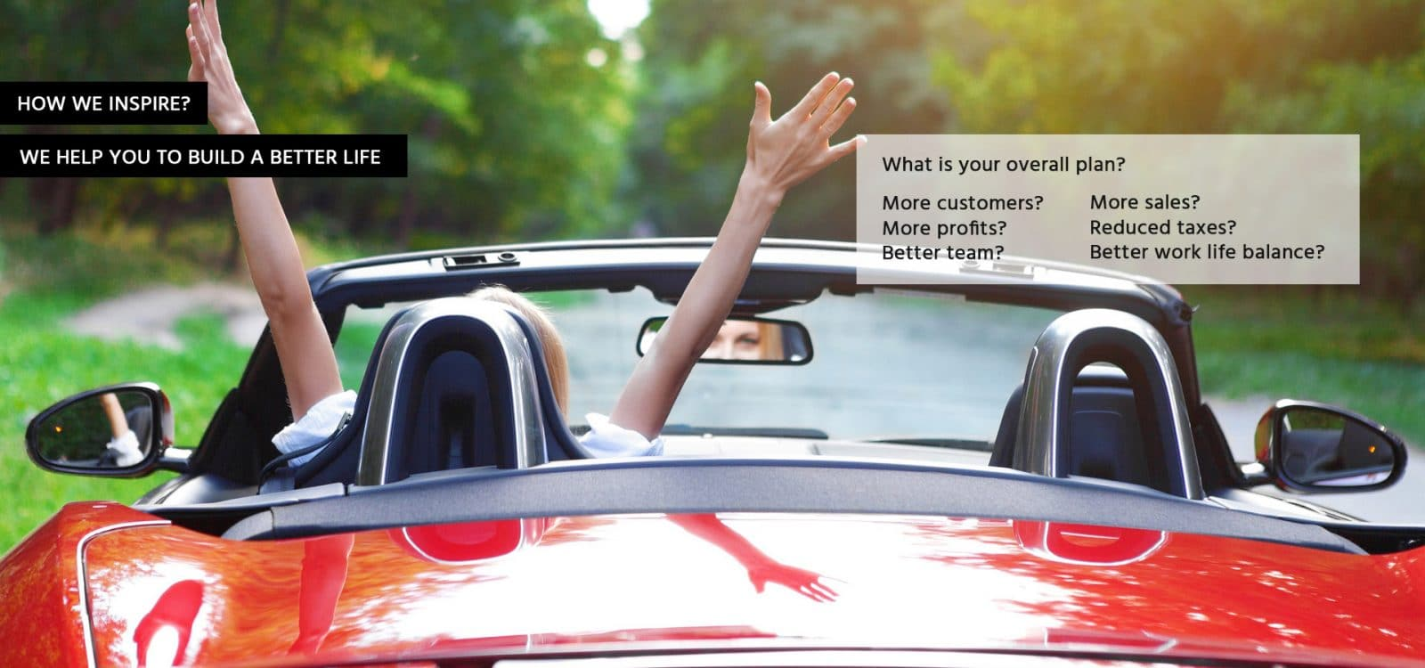 how-we-inspire Marketing Review - rear view of lady in red car with hands in the air
