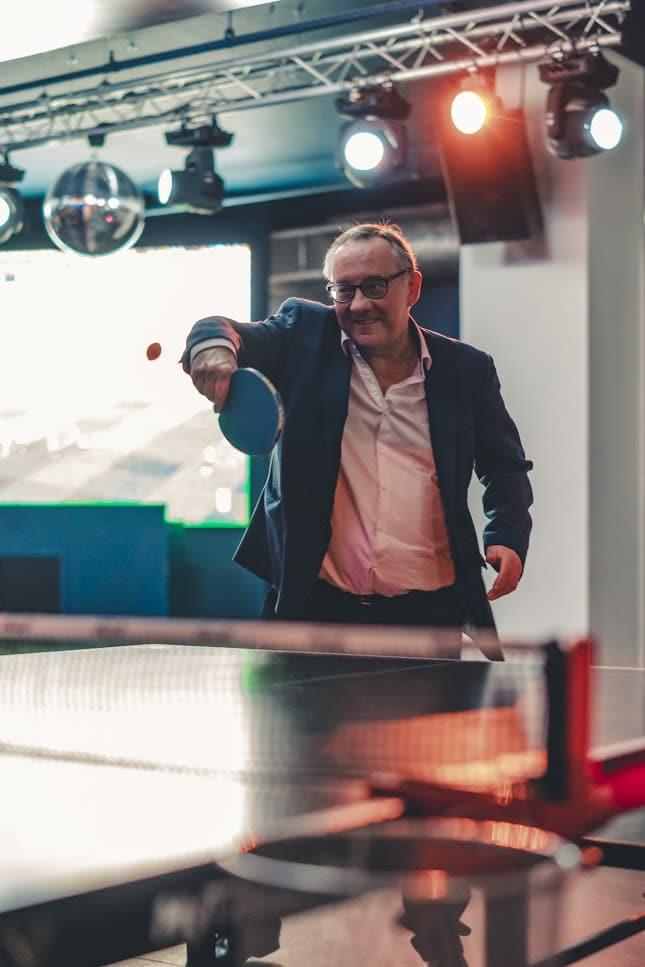 Ian Gardner playing ping pong