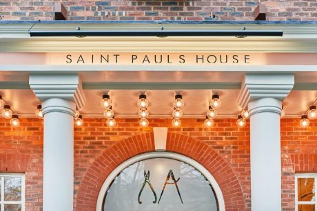 close up of saint pauls house sign