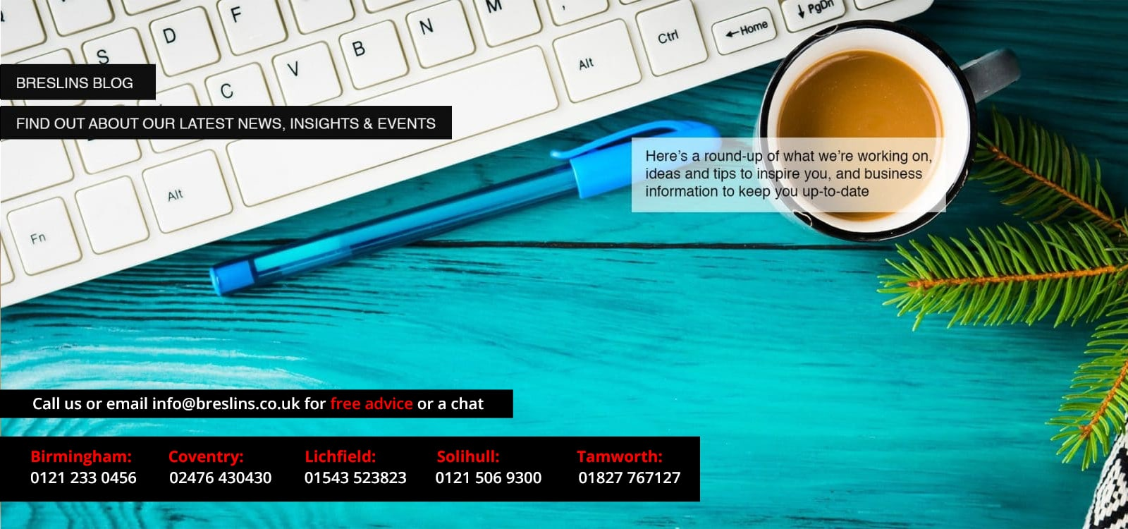 breslins poster for news and blogs with keyboard, pen and coffee mug in background