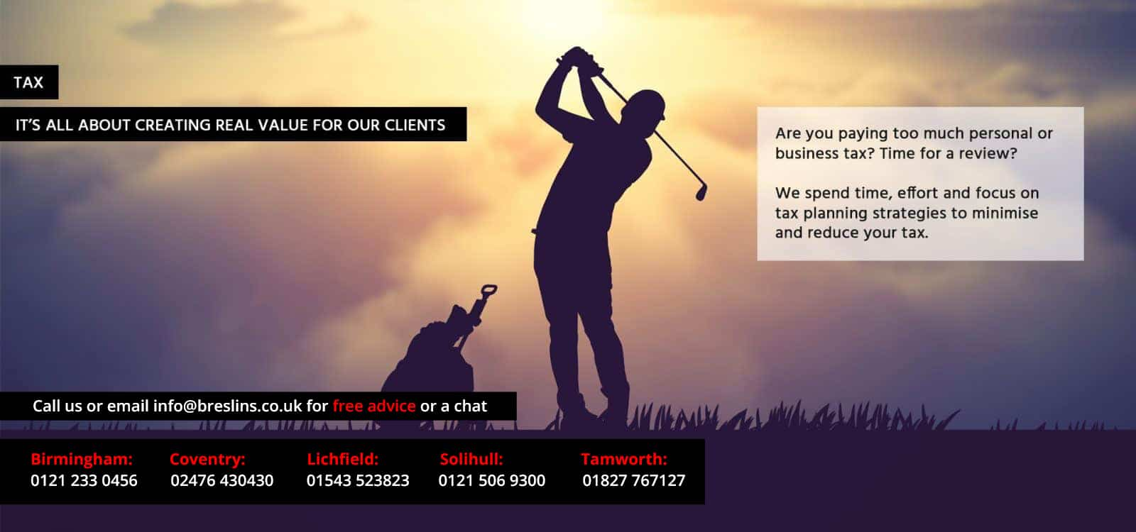 tax services poster with golfer teeing off